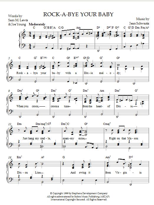 Rock-A-Bye Your Baby (With A Dixie Melody) sheet music