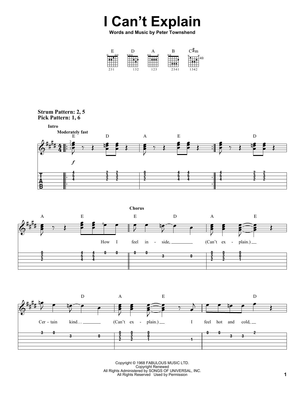 I Can't Explain sheet music