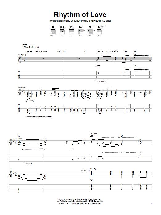 Rhythm Of Love sheet music