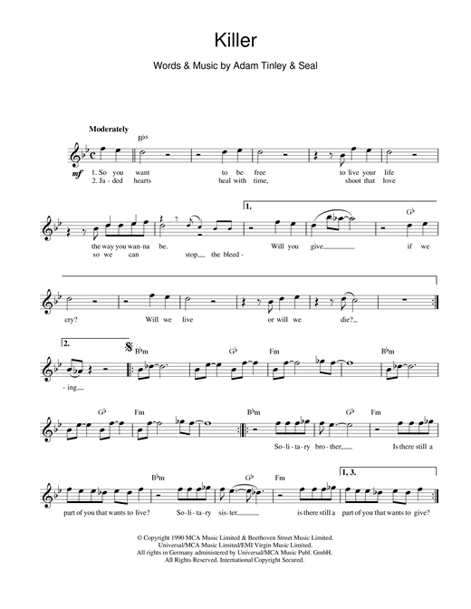 Killer sheet music