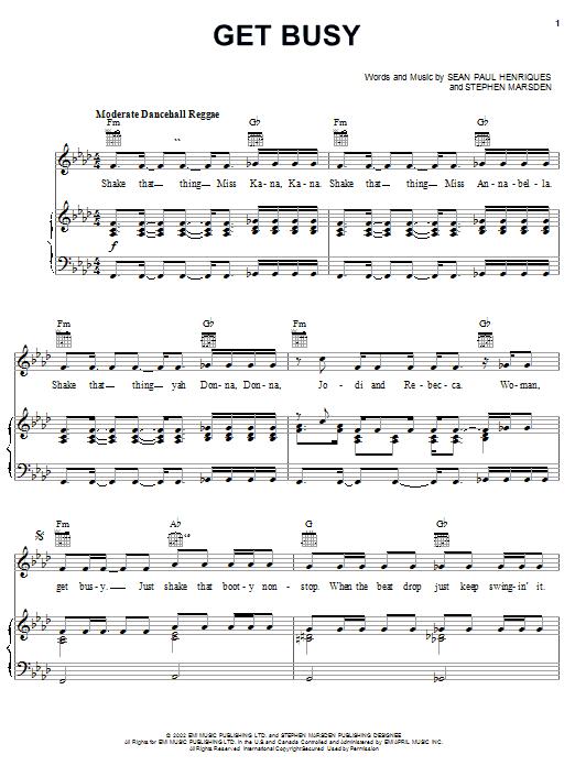 Get Busy sheet music