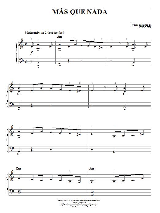 Mas Que Nada sheet music