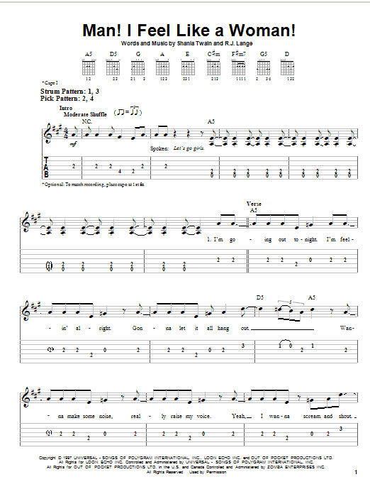 Man! I Feel Like A Woman! sheet music