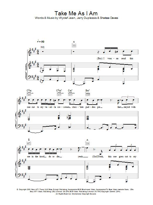 Take Me As I Am sheet music