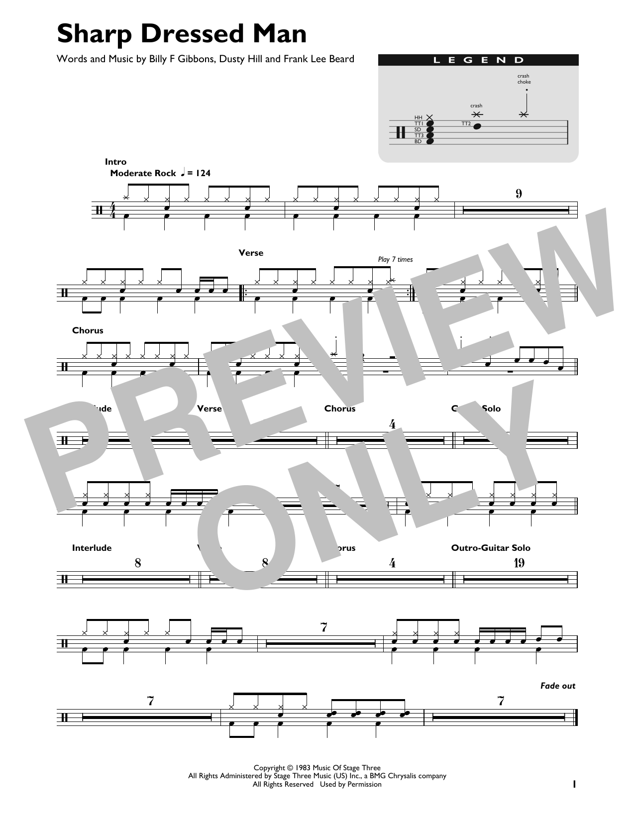 Zz Top Sharp Dressed Man Sheet Music Download Pdf Score 22865