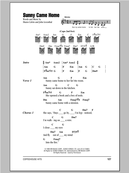 Sunny Came Home sheet music