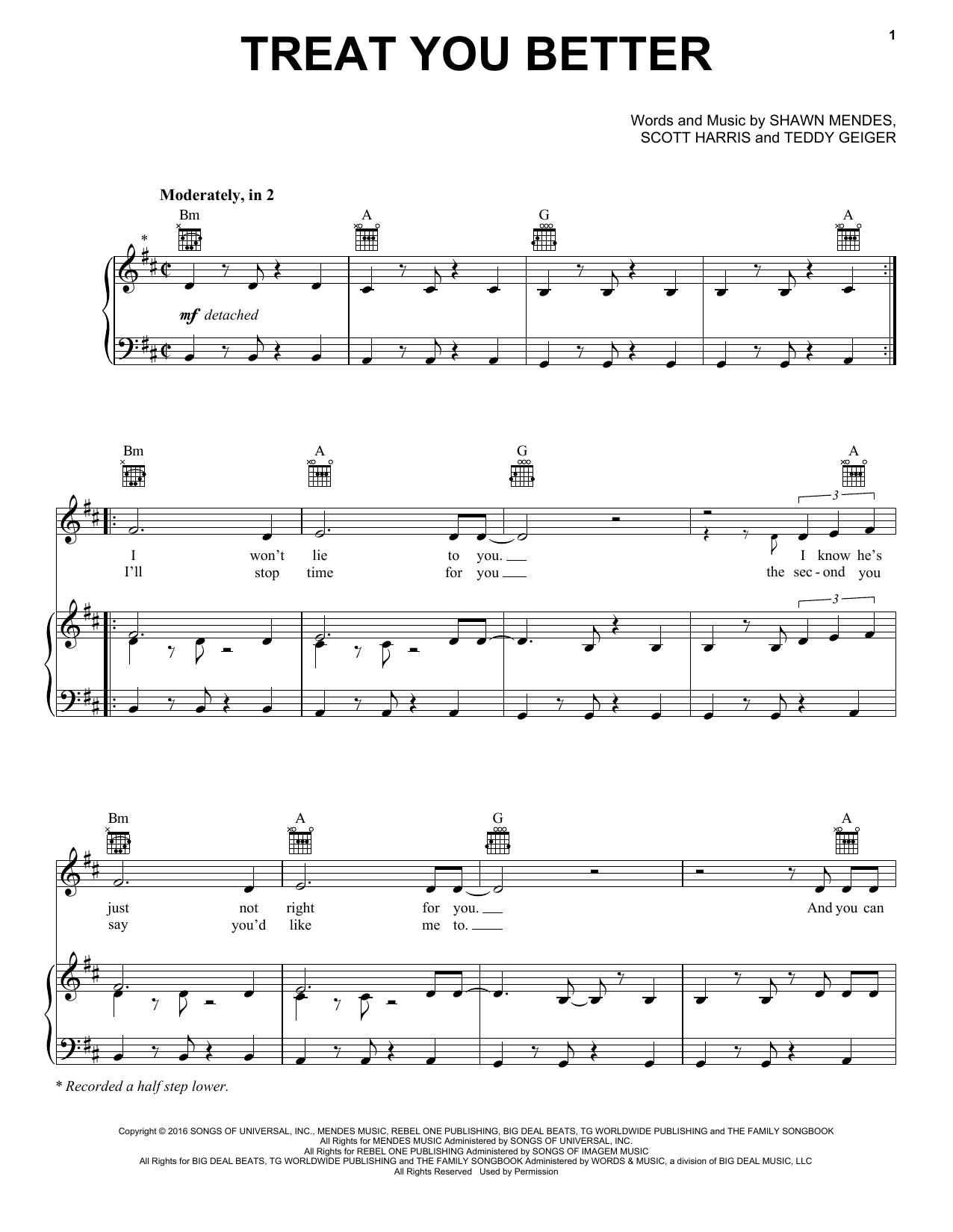 Treat You Better sheet music