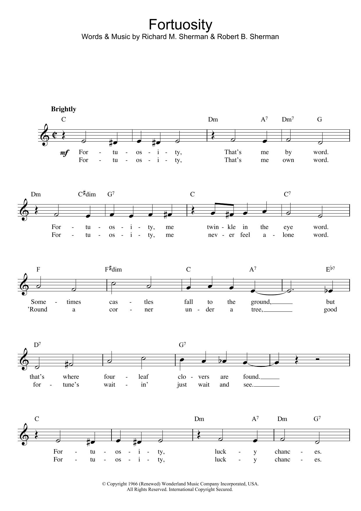 Fortuosity sheet music