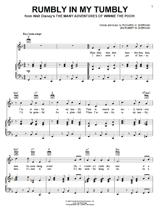 Rumbly In My Tumbly sheet music