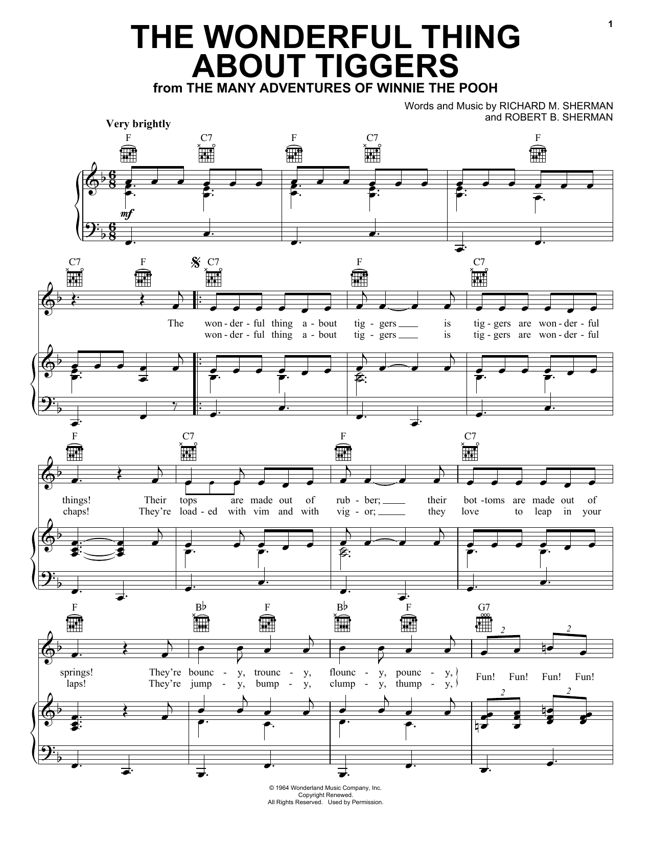 The Wonderful Thing About Tiggers sheet music