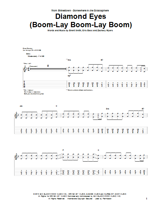 Diamond Eyes (Boom-Lay Boom-Lay Boom) sheet music