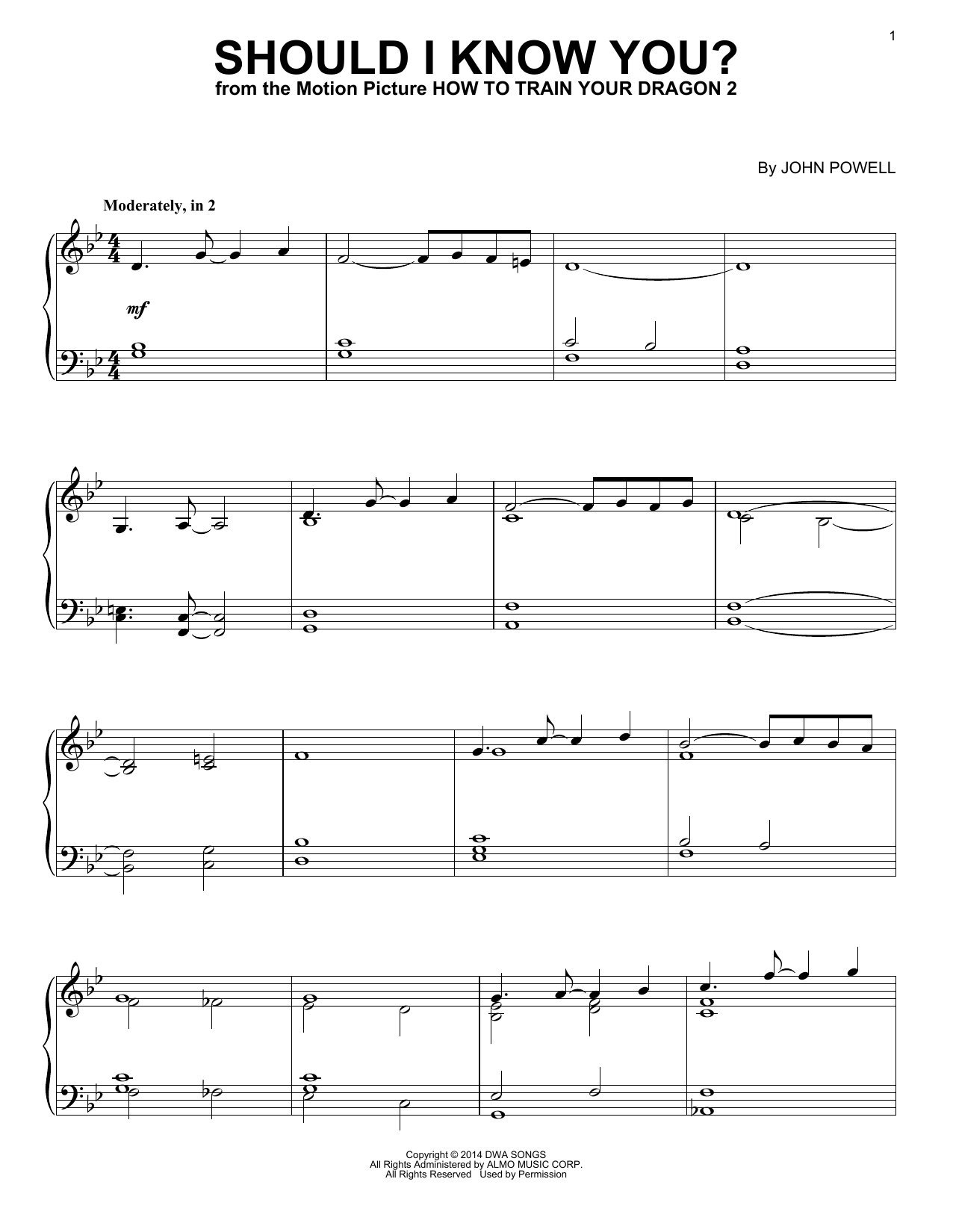 John Powell Should I Know You From How To Train Your Dragon Sheet Music Download Pdf Score 157385