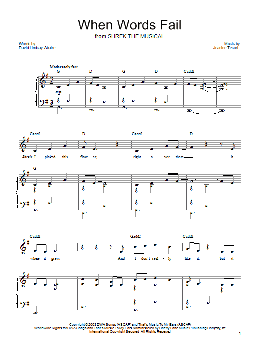 When Words Fail sheet music