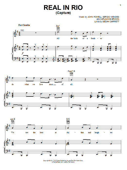 Real In Rio (Capture) sheet music