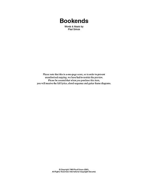 Bookends sheet music