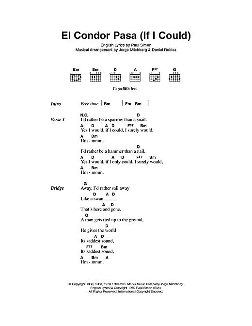 El Condor Pasa (If I Could) sheet music