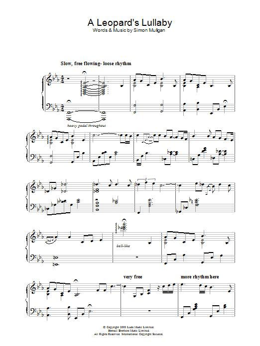 A Leopard's Lullaby sheet music