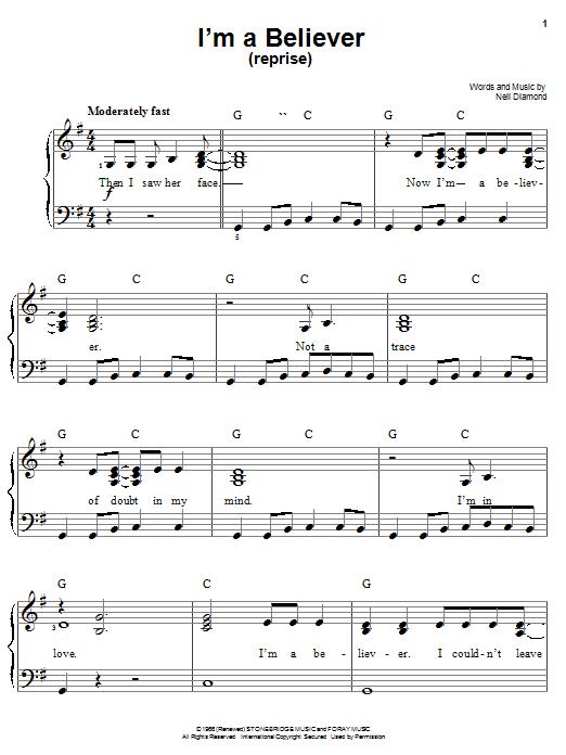 I'm A Believer (Reprise) sheet music