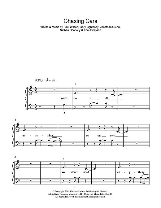 Chasing Cars sheet music