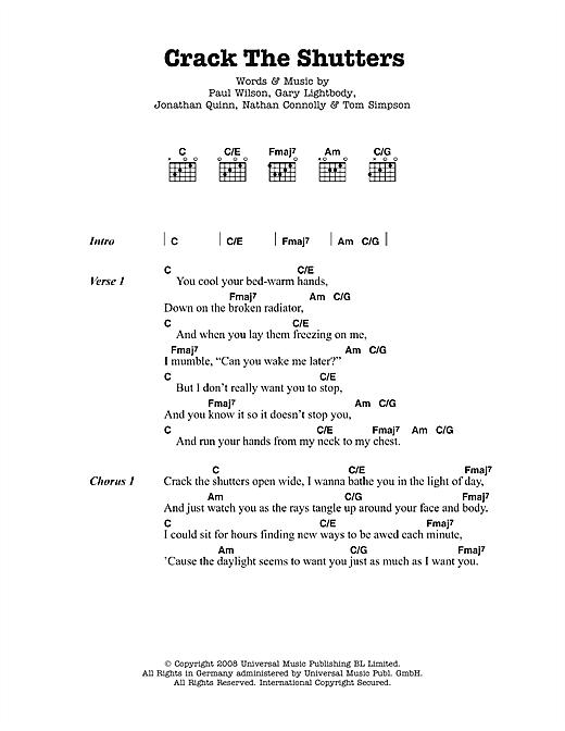 Crack The Shutters sheet music