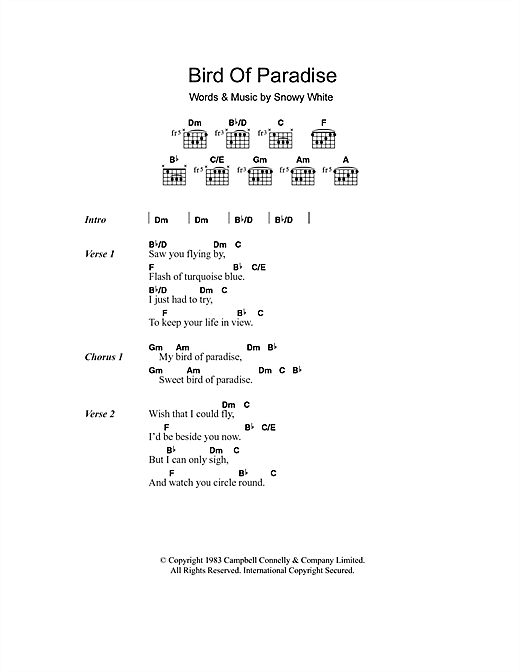 Bird Of Paradise sheet music