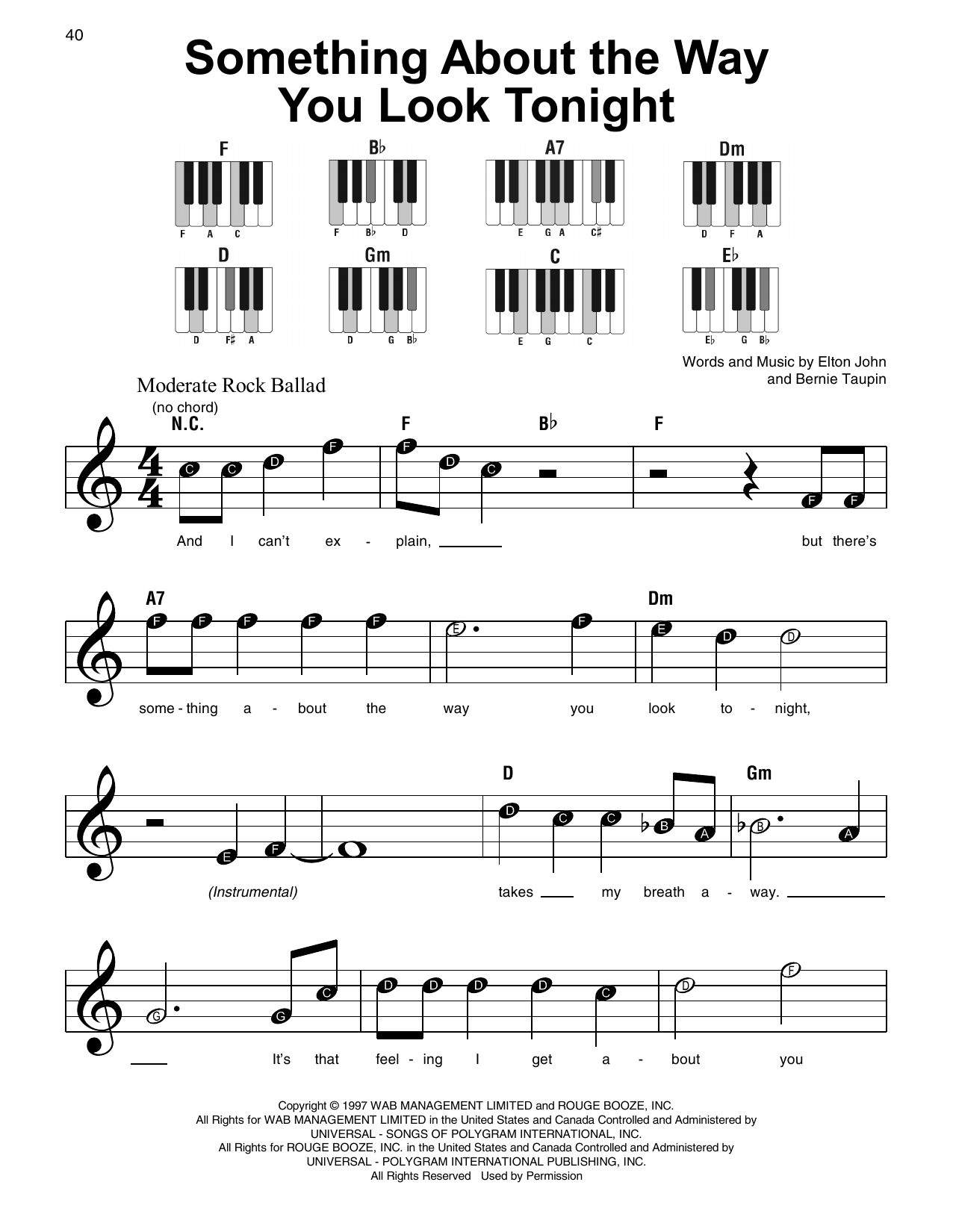 Something About The Way You Look Tonight sheet music
