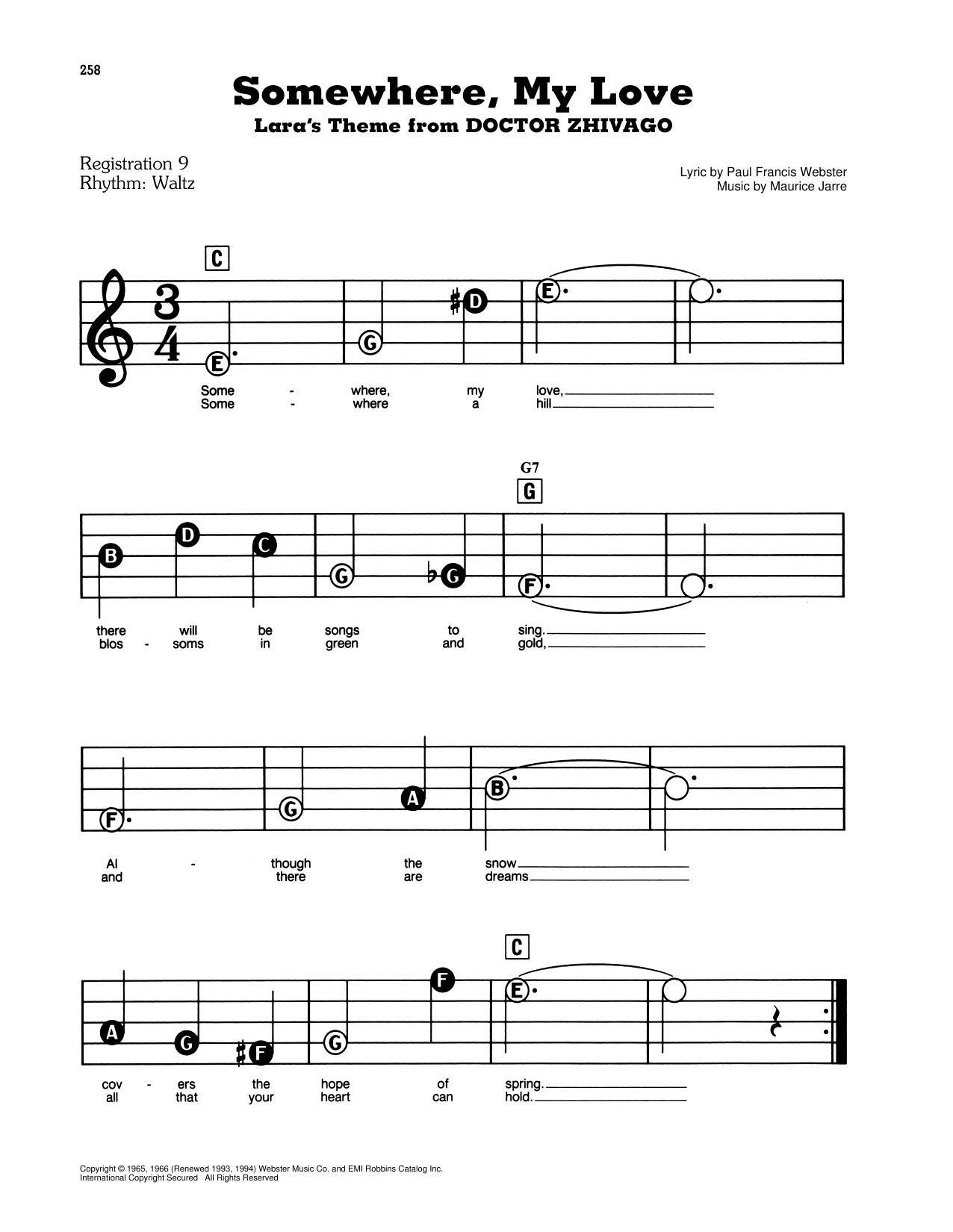 Maurice Jarre Somewhere My Love Lara S Theme From Doctor Zhivago Sheet Music Download Pdf Score 442894