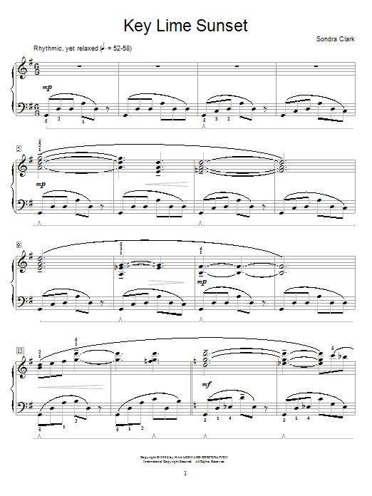 Key Lime Sunset sheet music