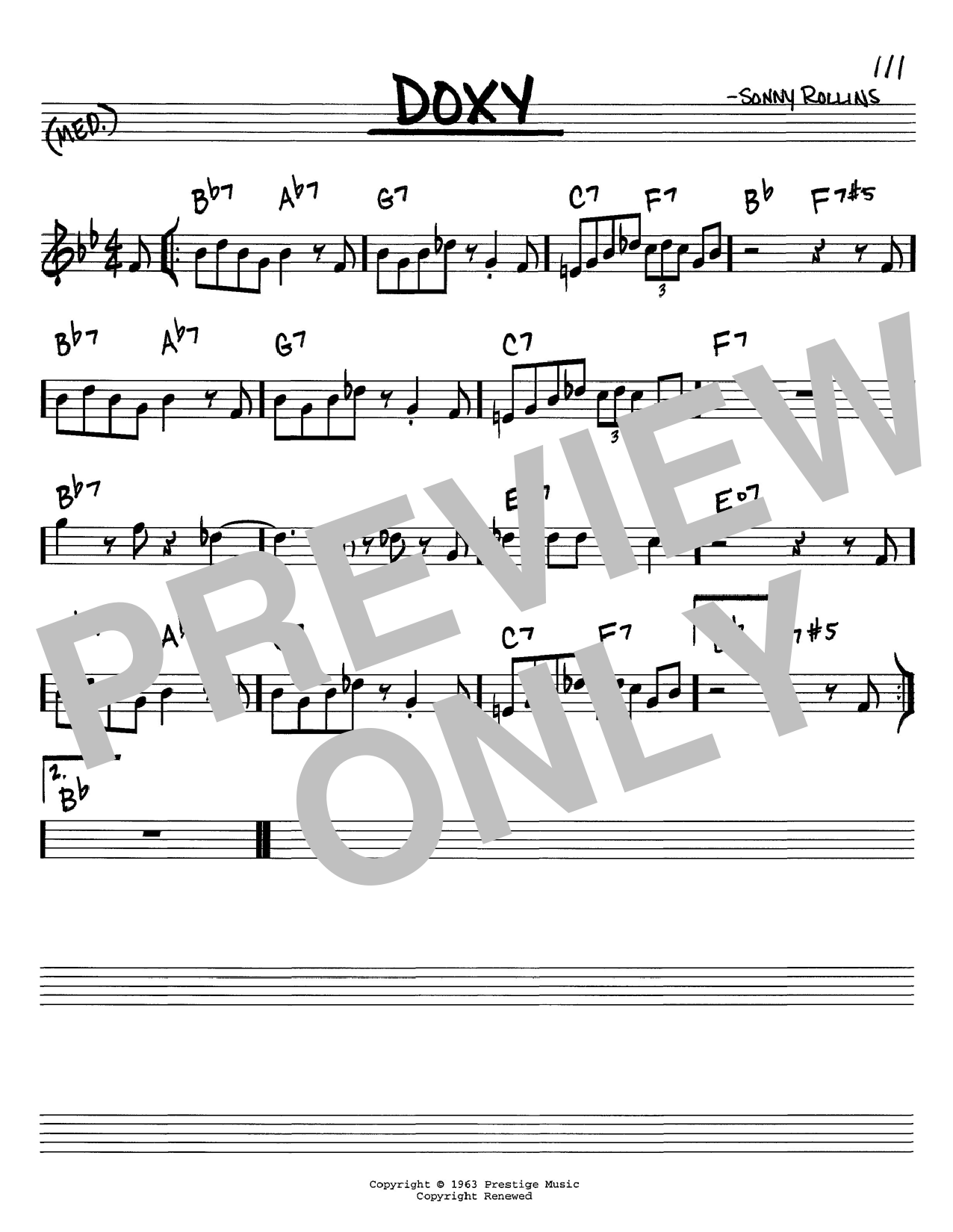 Doxy sheet music