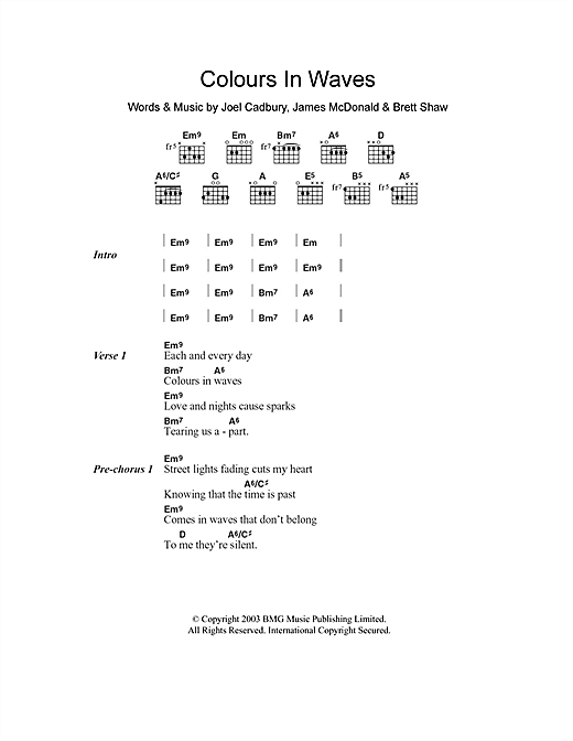 Colours In Waves sheet music