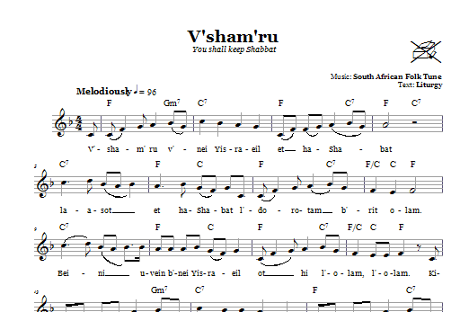 V'sham'ru (You Shall Keep Shabbat) sheet music