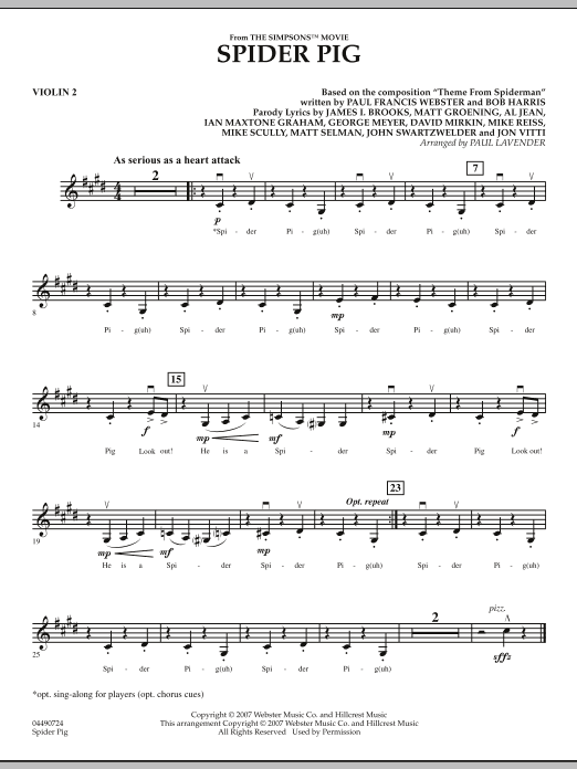 Paul Lavender Spider Pig From The Simpsons Violin 2 Sheet Music Download Pdf Score 272371