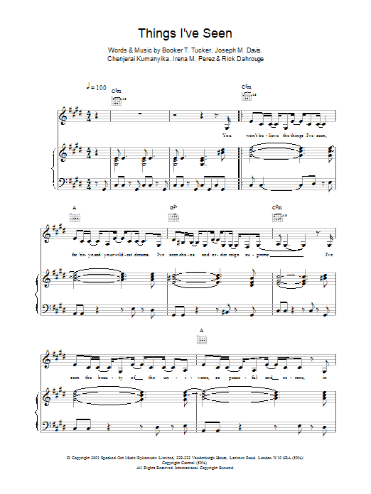 Things I've Seen sheet music