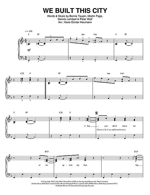 We Built This City sheet music