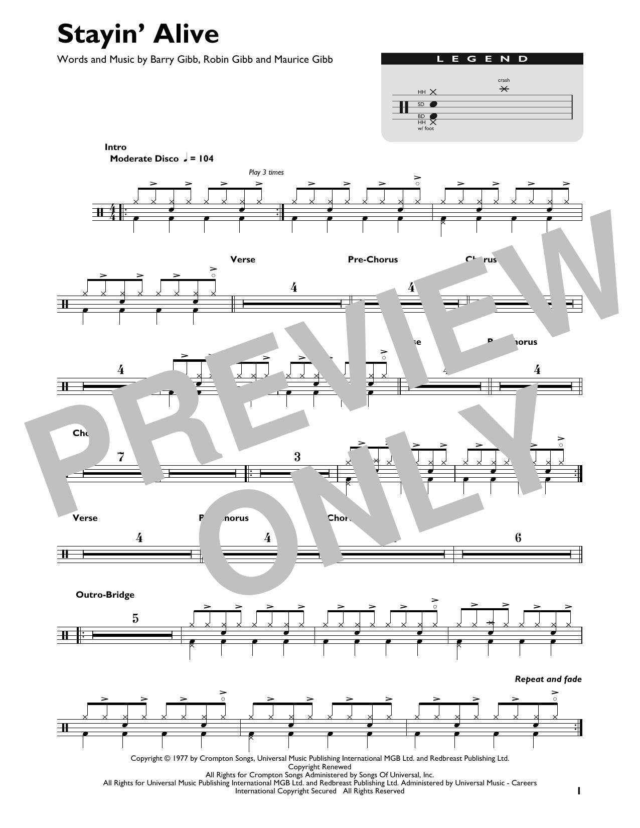 The Bee Gees Stayin Alive Sheet Music Download Pdf Score 408595