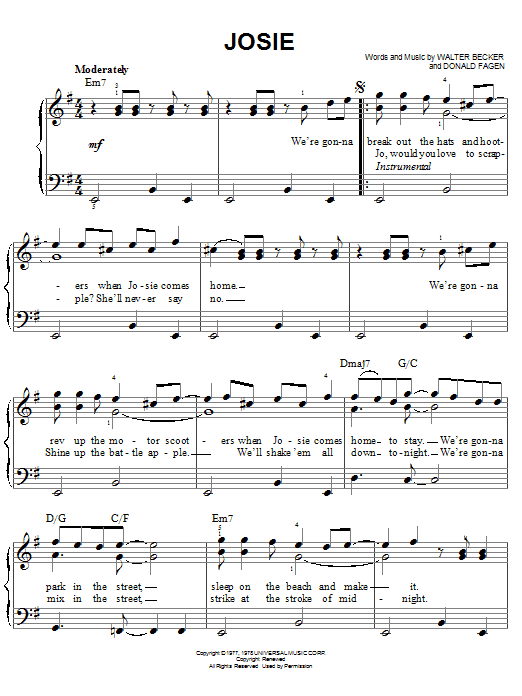 Josie sheet music