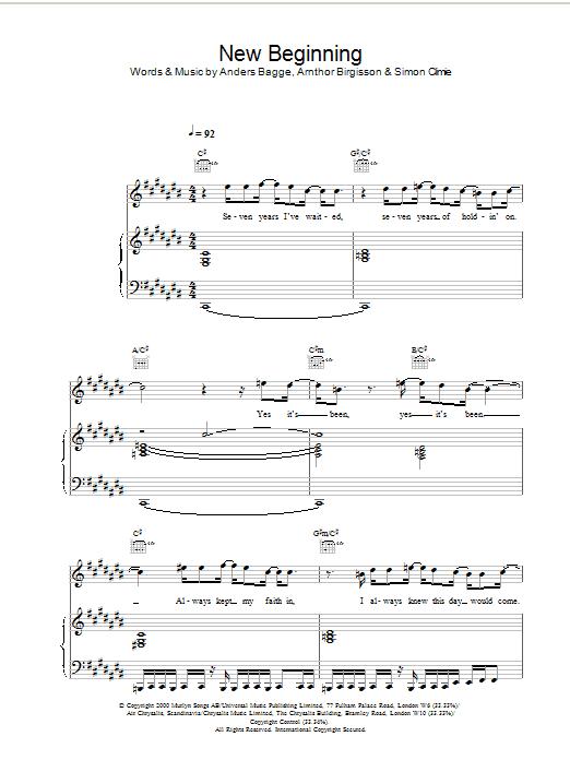 New Beginning sheet music