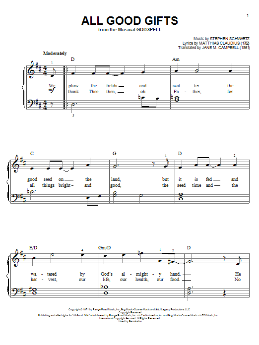 All Good Gifts (from Godspell) sheet music