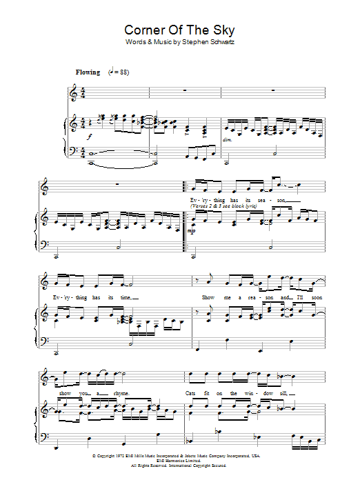 Corner Of The Sky (from Pippin) sheet music