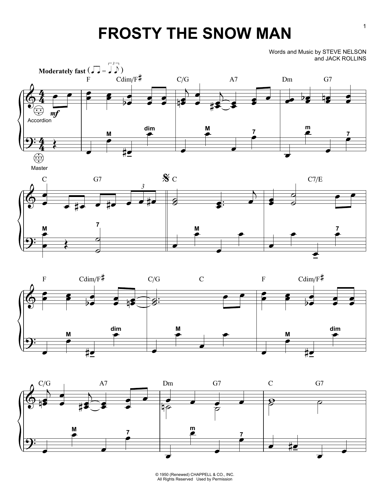 Frosty The Snow Man sheet music