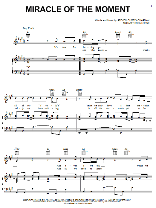 Miracle Of The Moment sheet music