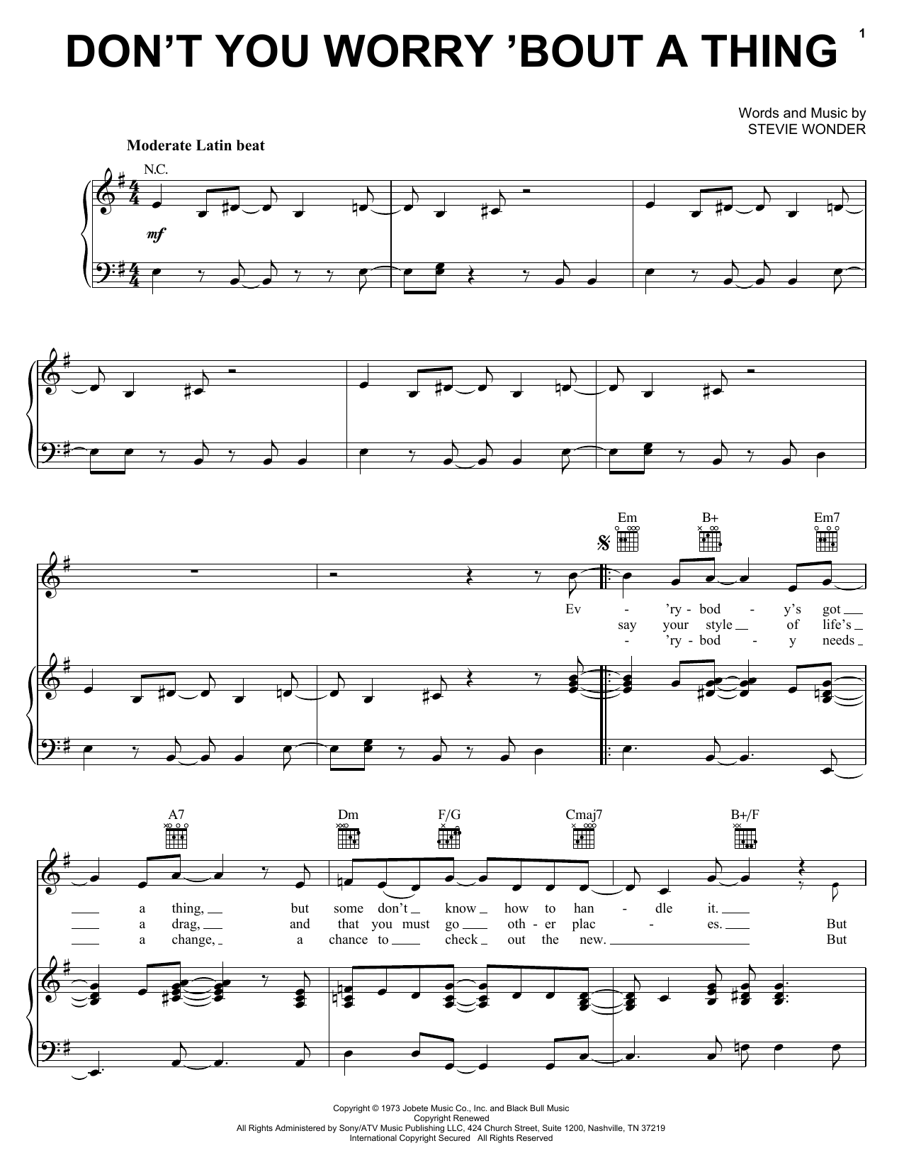 Don't You Worry 'Bout A Thing sheet music