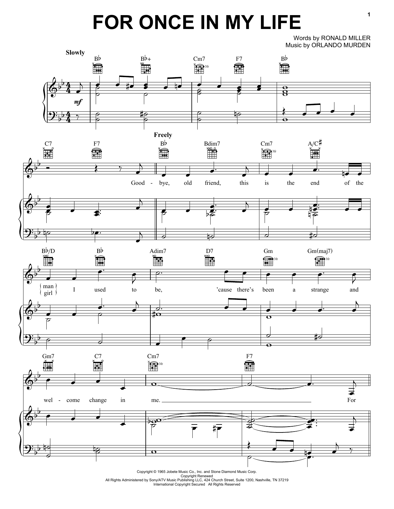 For Once In My Life sheet music