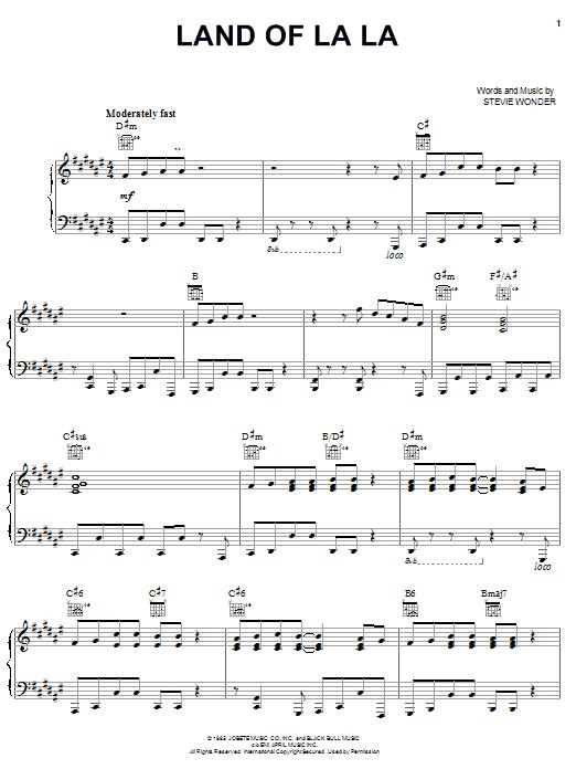Land Of La La sheet music