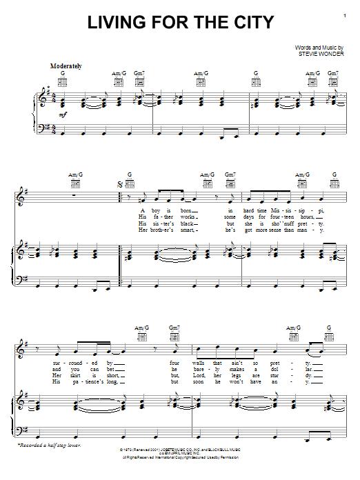 Living For The City sheet music