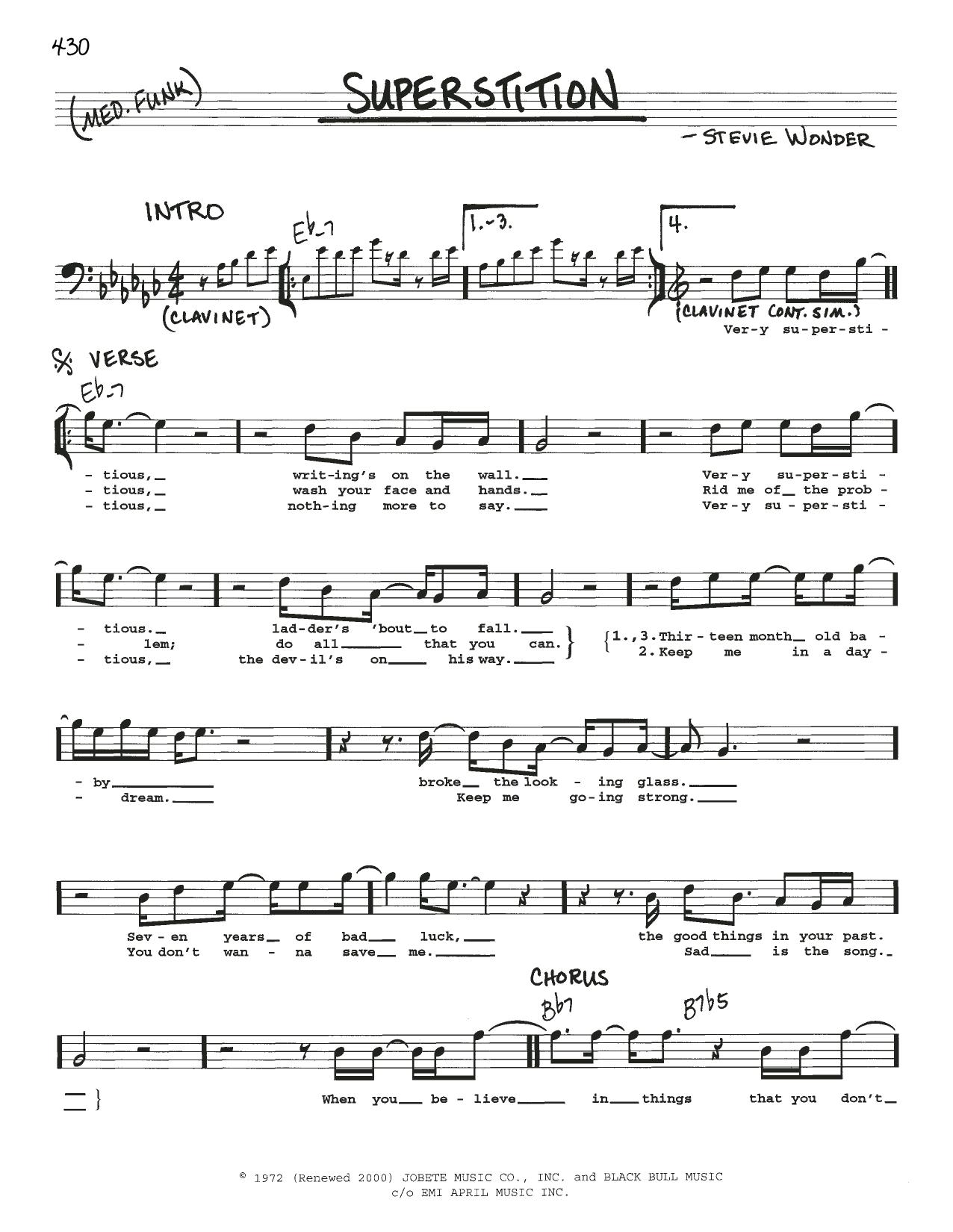 Superstition sheet music