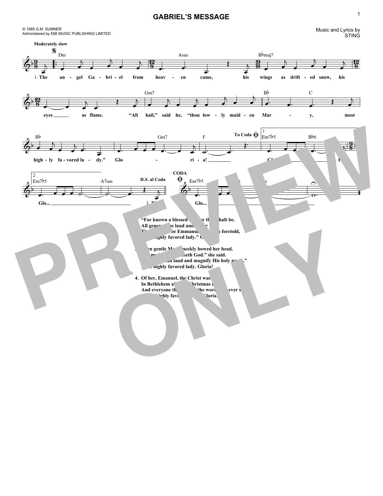Gabriel's Message sheet music