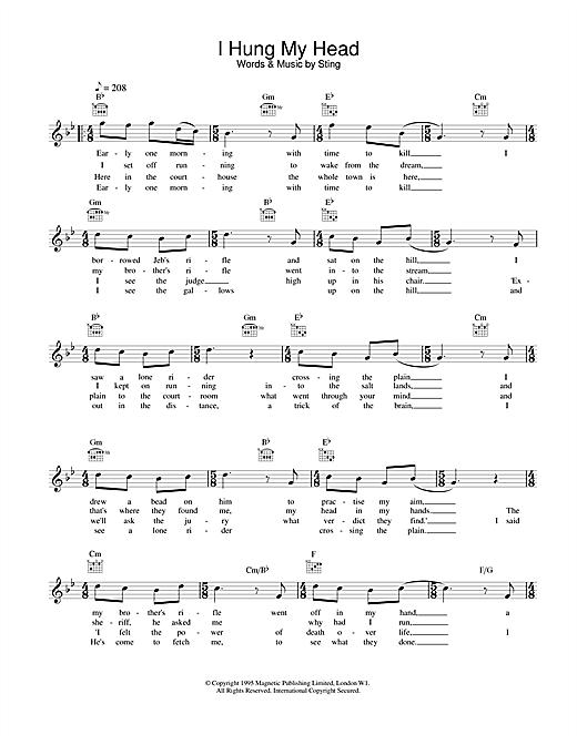 I Hung My Head sheet music