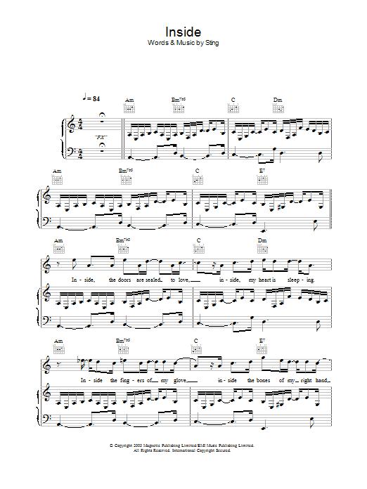Inside sheet music