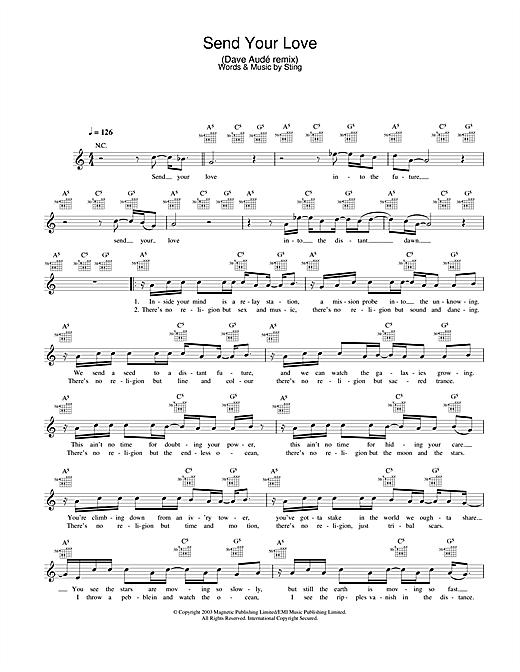 Send Your Love (Dave Audé remix) sheet music